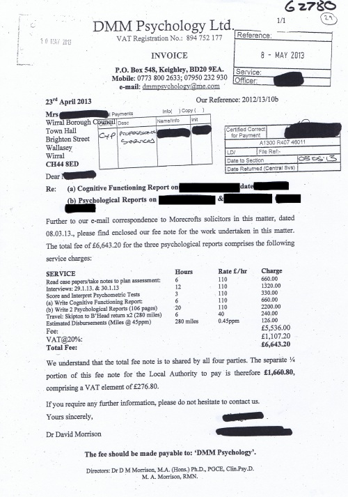 Wirral Council invoice DMM Psychology Ltd 8th March 2013 £1660.80 29