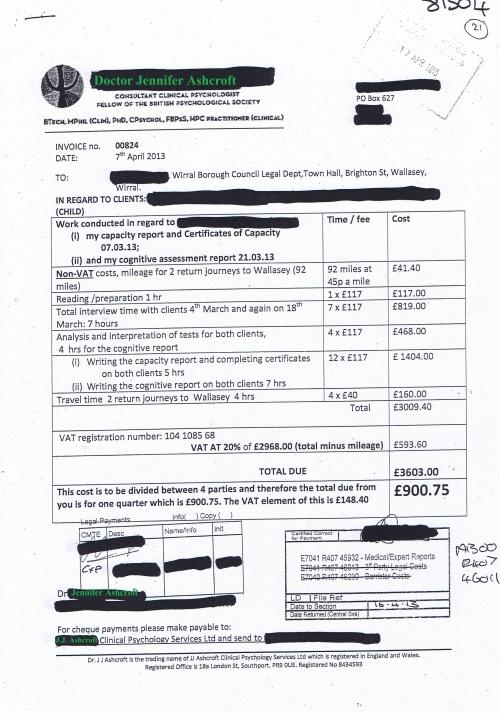 Wirral Council invoice Dr Jennifer Ashcroft JJ Ashcroft Clinical Psychology Services Ltd 7th April 2013 £900.75 21