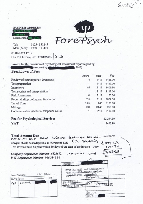 Wirral Council invoice Forepsych Limited psychological assessment report £688.35 3rd February 2013 11