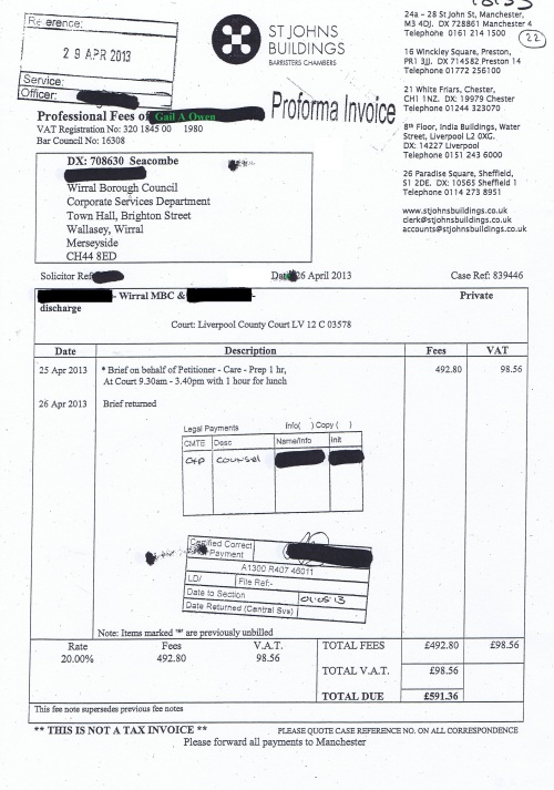Wirral Council invoice Gail A Owen St Johns Buildings 26th April 2013 £591.36 22