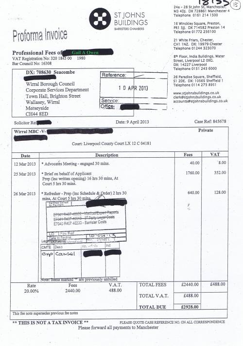 Wirral Council invoice Gail A Owen St Johns Buildings £2,928 9th April 2013 15