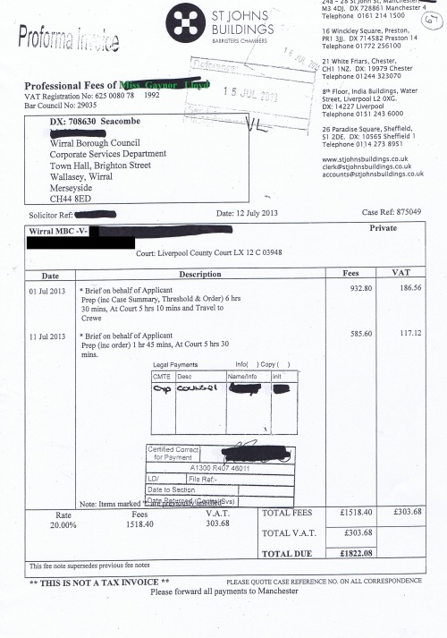 Wirral Council invoice Gaynor Lloyd St Johns Buildings 12th July 2013 £1822.08 67