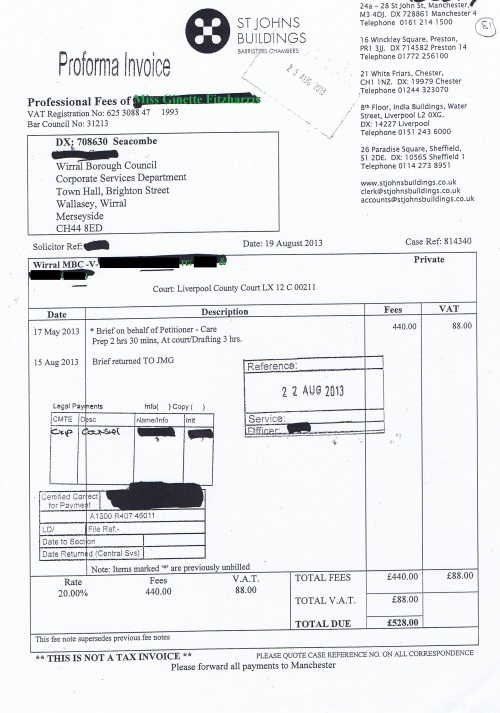Wirral Council invoice Ginette Fitzharris St Johns Buildings 19th August 2013 £528 81