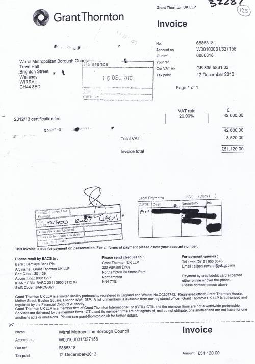 Wirral Council invoice Grant Thornton UK LLP 12th December 2013 £51120 125