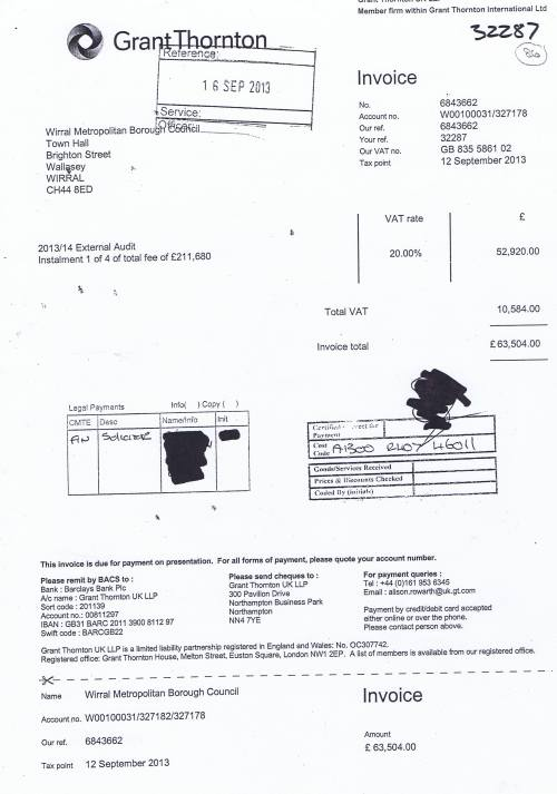 Wirral Council invoice Grant Thornton UK LLP 12th September 2013 £63504 86