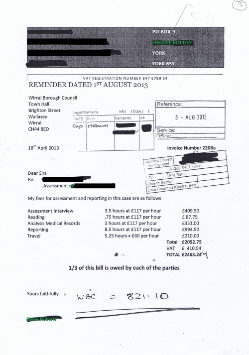 Wirral Council invoice Helen Roberts Forensic Clinical Psychologist 1st August 2013 £821.10 75