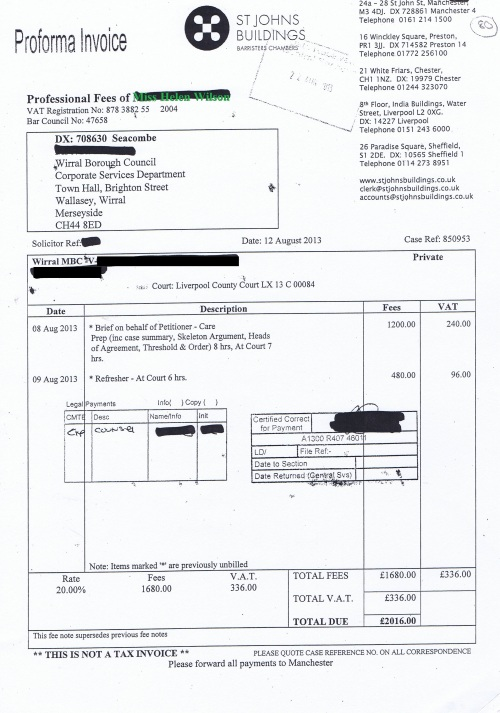 Wirral Council invoice Helen Wilson St Johns Buildings 12th August 2013 £2016 80