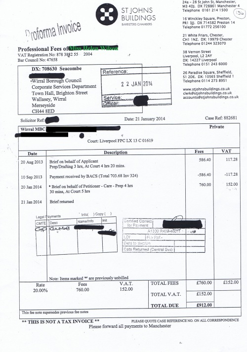 Wirral Council invoice Helen Wilson St Johns Buildings 21st January 2014 £912 136