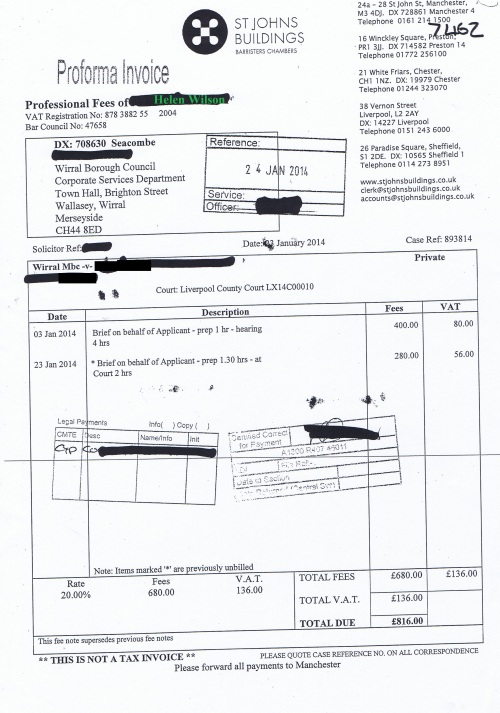 Wirral Council invoice Helen Wilson St Johns Buildings 23rd January 2014 £816 139