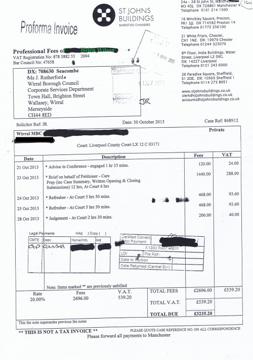 Wirral Council invoice Helen Wilson St Johns Buildings 30th October 2013 £3235.20 104