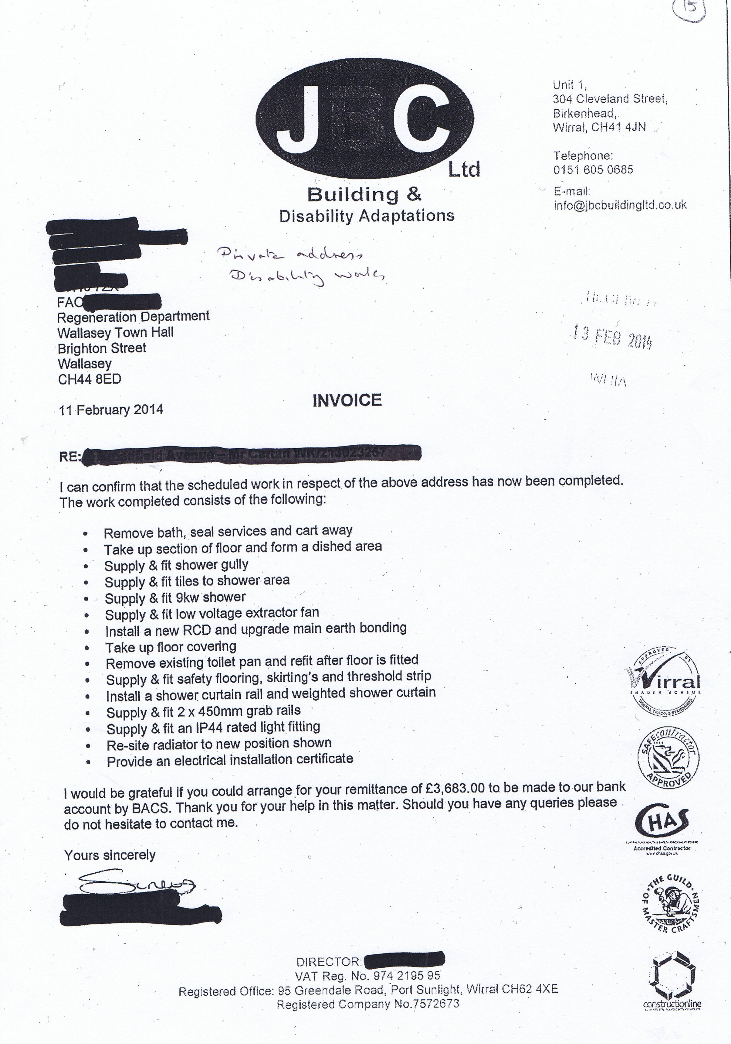 builders invoice