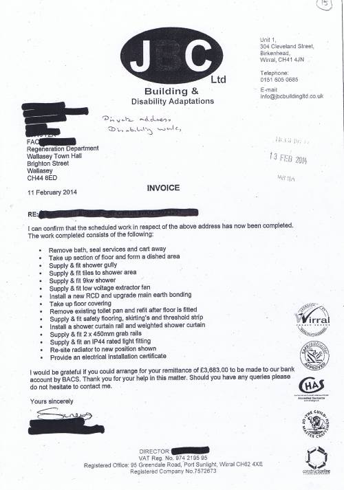 Wirral Council invoice JBC Builders and Disability Adaptions Limited £3683 10th March 2014 15
