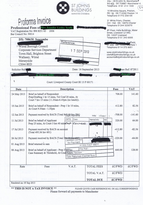 Wirral Council invoice Jennifer Lesley Scully St Johns Buildings 16th September 2013 Page 1 of 2 £1296 89