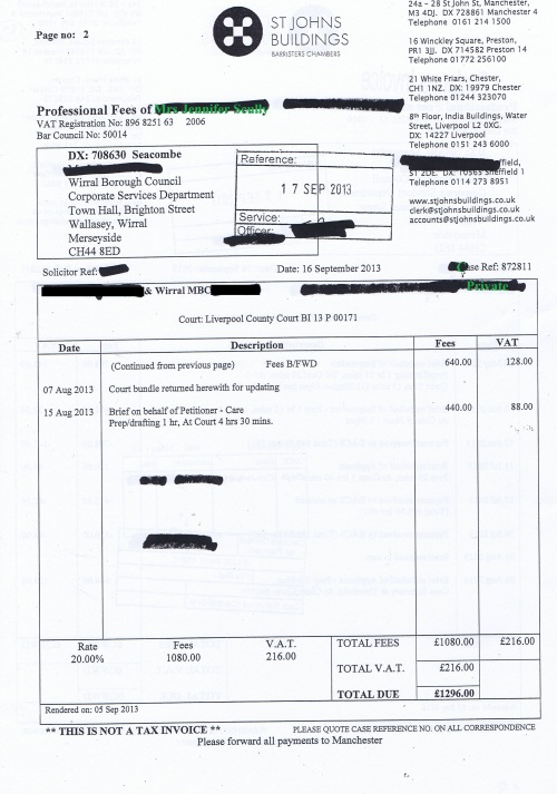 Wirral Council invoice Jennifer Lesley Scully St Johns Buildings 16th September 2013 Page 2 of 2 £1296 89