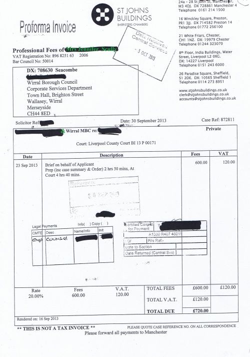 Wirral Council invoice Jennifer Lesley Scully St Johns Buildings 30th September 2013 £720 94