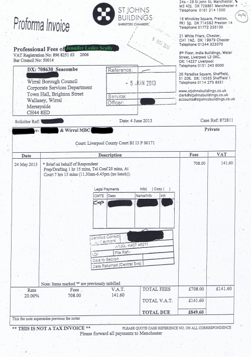 Wirral Council invoice Jennifer Lesley Scully St Johns Buildings 4th June 2013 £849.60 49