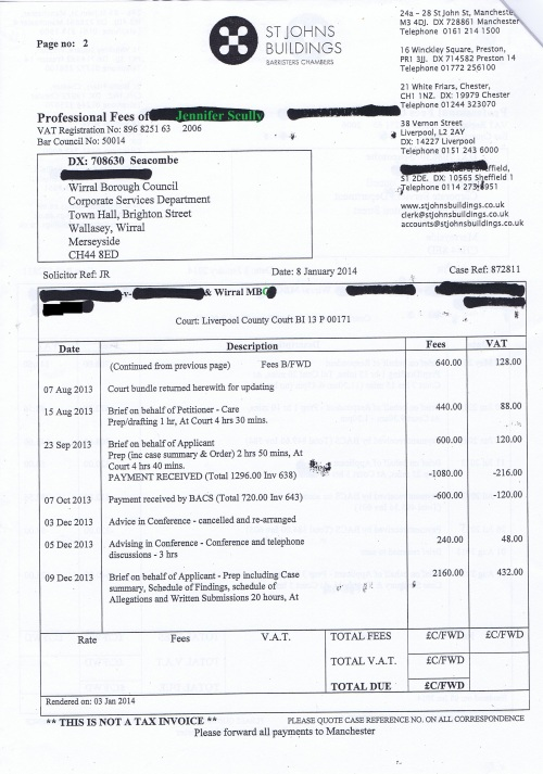 Wirral Council invoice Jennifer Lesley Scully St Johns Buildings 8th January 2014 Page 2 of 3 £5096.64 128