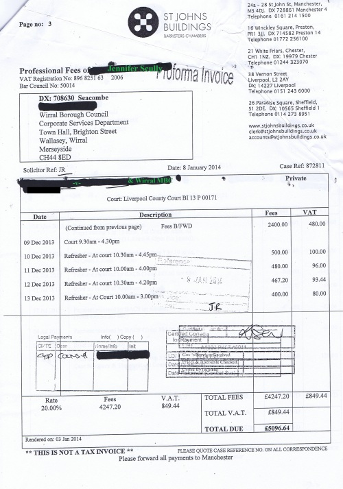 Wirral Council invoice Jennifer Lesley Scully St Johns Buildings 8th January 2014 Page 3 of 3 £5096.64 128