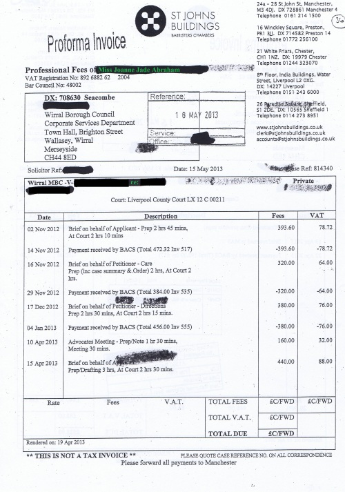 Wirral Council invoice Joanne Jade Abraham St Johns Buildings 15th May 2013 Page 1 of 2 £528 36