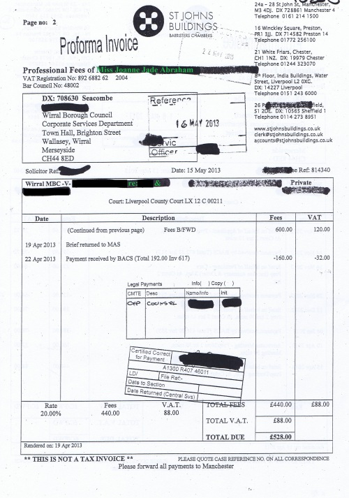 Wirral Council invoice Joanne Jade Abraham St Johns Buildings 15th May 2013 Page 2 of 2 £528 36