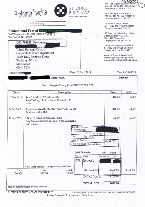 Wirral Council invoice Joanne Jade Abraham St Johns Buildings 20th April 2013 £600 23
