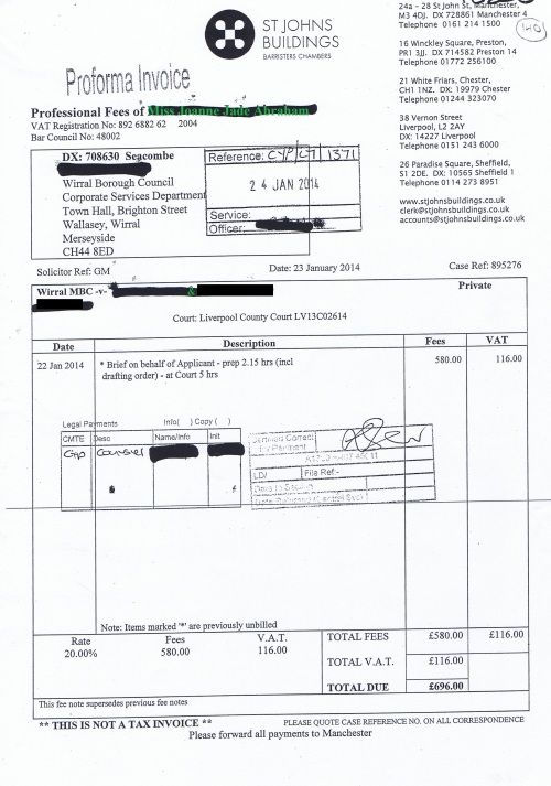 Wirral Council invoice Joanne Jade Abraham St Johns Buildings 23rd January 2014 £696 140