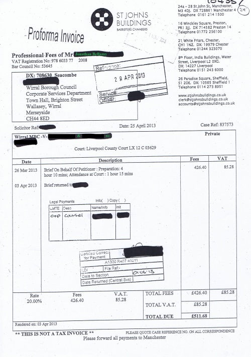 Wirral Council invoice Jonathan Bellamy St Johns Buildings 25th April 2013 £511.68 24