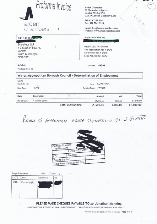 Wirral Council invoice Jonathan Manning Arden Chambers 26th July 2013 £1,800 71