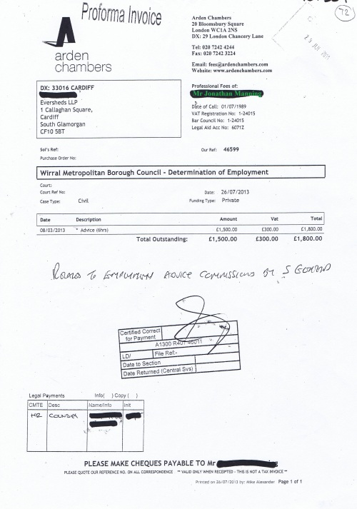 Wirral Council invoice Jonathan Manning Arden Chambers 26th July 2013 £1,800 72