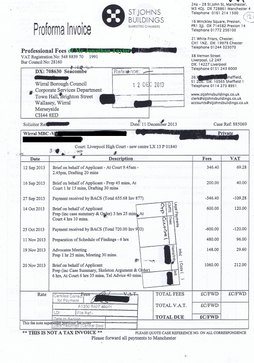 Wirral Council invoice Jonathan Taylor St Johns Buildings 11th December 2013 Page 1 of 2 £3473.28 121
