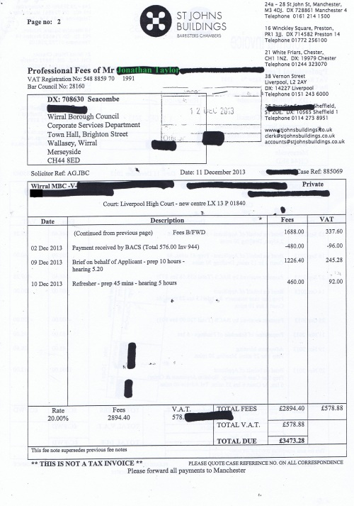 Wirral Council invoice Jonathan Taylor St Johns Buildings 11th December 2013 Page 2 of 2 £3473.28 121