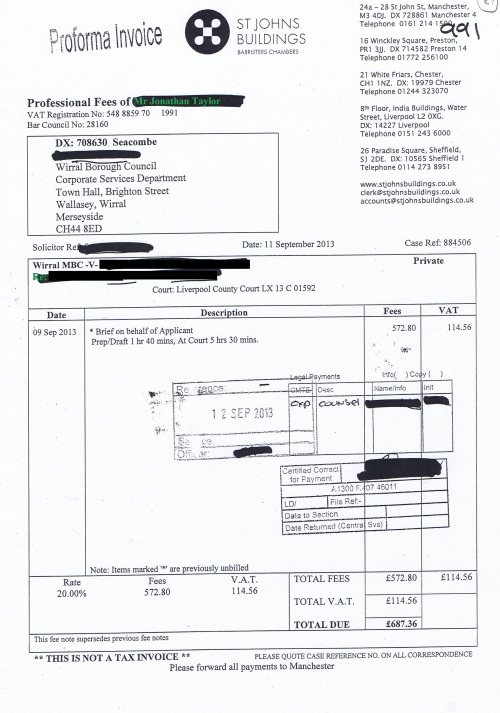 Wirral Council invoice Jonathan Taylor St Johns Buildings 11th September 2013 £687.36 87