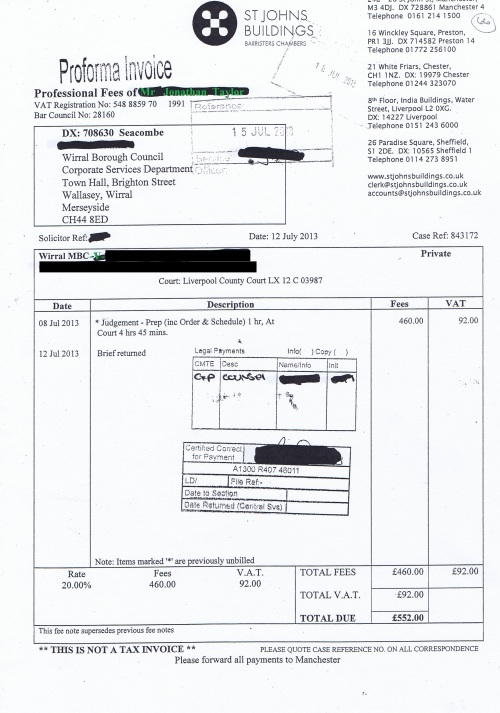 Wirral Council invoice Jonathan Taylor St Johns Buildings 12th July 2013 £552 66