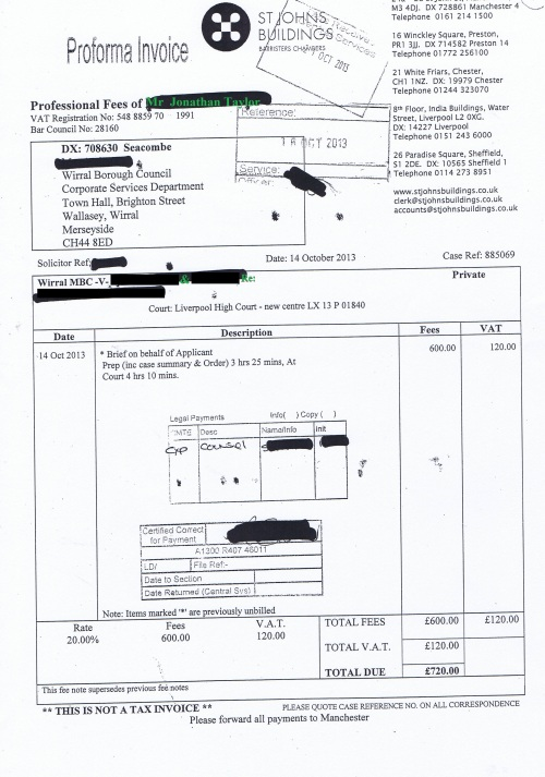 Wirral Council invoice Jonathan Taylor St Johns Buildings 14th October 2013 £720 99