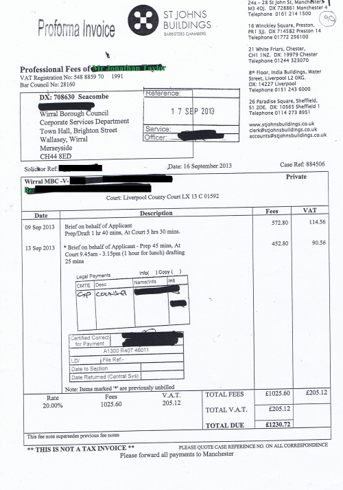 Wirral Council invoice Jonathan Taylor St Johns Buildings 16th September 2013 £1230.72 90