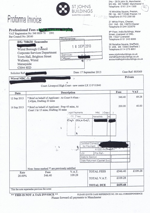 Wirral Council invoice Jonathan Taylor St Johns Buildings 17th September 2013 £655.68 91