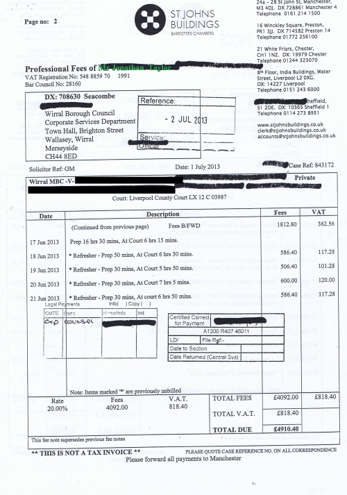 Wirral Council invoice Jonathan Taylor St Johns Buildings 1st July 2013 £4,910.40 Page 2 of 2 60