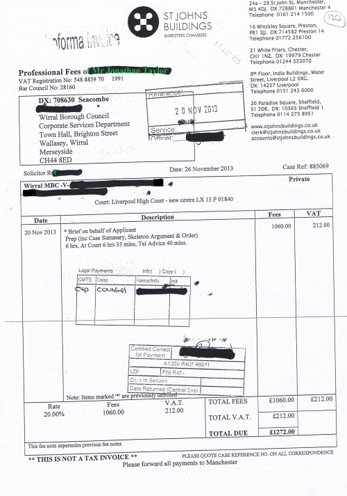 Wirral Council invoice Jonathan Taylor St Johns Buildings 26th November 2013 £1272 120