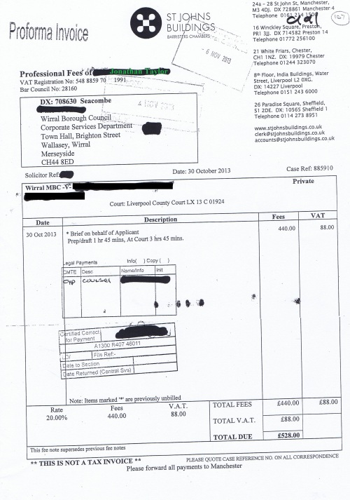 Wirral Council invoice Jonathan Taylor St Johns Buildings 30th October 2013 £528 107