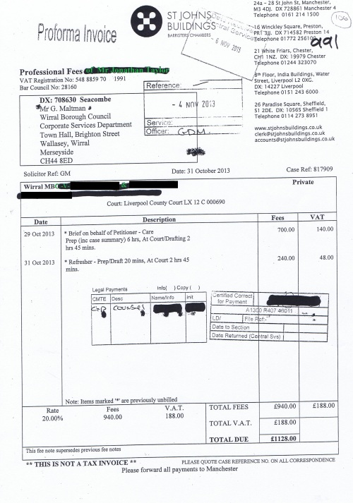 Wirral Council invoice Jonathan Taylor St Johns Buildings 31st October 2013 £1128 106