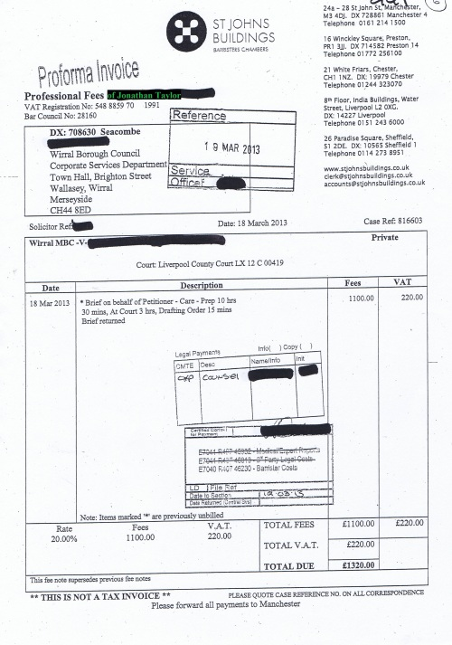 Wirral Council invoice Jonathan Taylor St Johns Buildings £1,320 18th March 2013 6