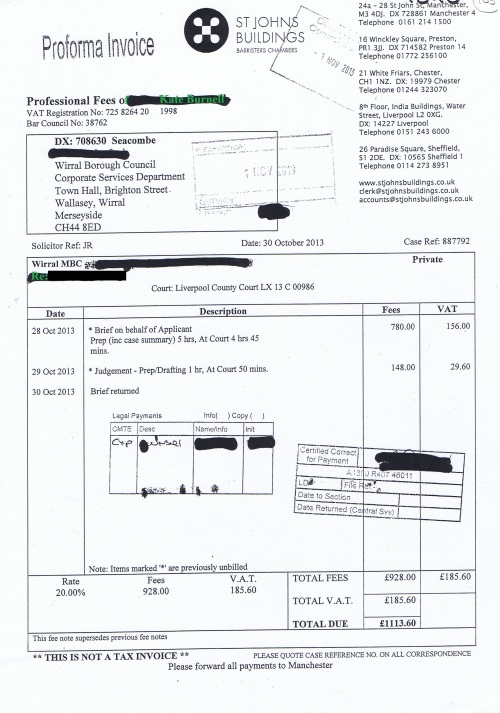 Wirral Council invoice Kate Burnell St Johns Buildings 30th October 2013 £1113.60 105