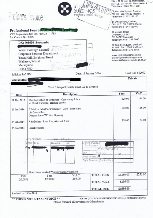 Wirral Council invoice Leona Harrison St Johns Buildings 15th January 2014 £1536 133