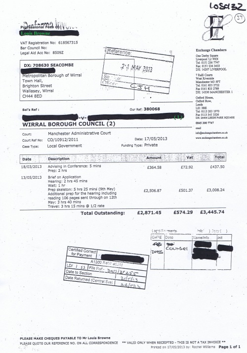 Wirral Council invoice Louis Browne Exchange Chambers 15th May 2013 £3445.74 37