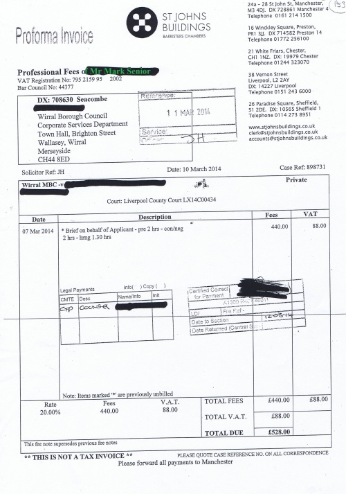 Wirral Council invoice Mark Senior St Johns Buildings 10th March 2014 £528 153