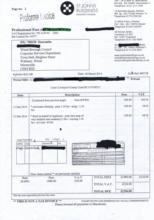Wirral Council invoice Mark Senior St Johns Buildings 18th March 2014 Page 2 of 2 £1296 157