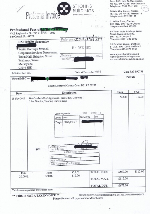 Wirral Council invoice Mark Senior St Johns Buildings 4th December 2013 £672 123