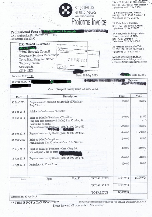 Wirral Council invoice Michael J Kennedy St Johns Building 28th May 2013 £811.29 Page 1 of 2 45
