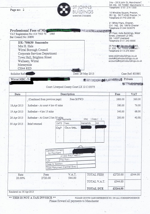 Wirral Council invoice Michael J Kennedy St Johns Building 28th May 2013 £811.29 Page 2 of 2 45