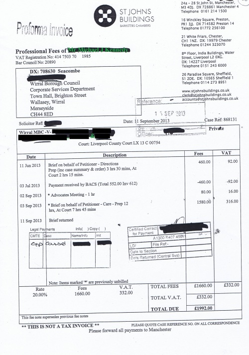Wirral Council invoice Michael J Kennedy St Johns Buildings 11th September 2013 £1992 88
